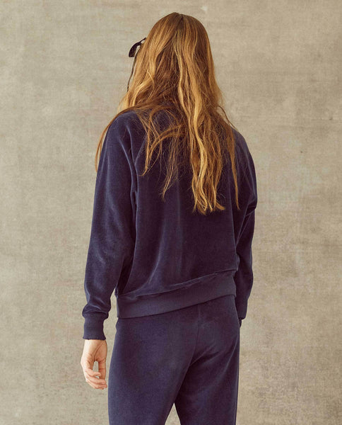 The Velour College Sweatshirt. -- Navy