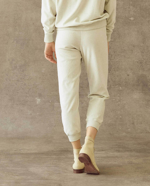 The Velour Cropped Sweatpant. -- Ice Green