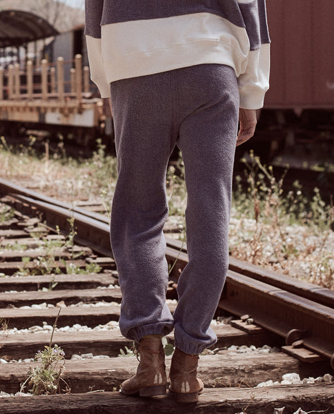 The Warm Up Sweatpant. -- ENGINE BLUE AND CREAM