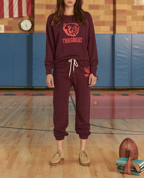 The Warm Up Sweatpant. -- MULBERRY WITH BEAR GRAPHIC