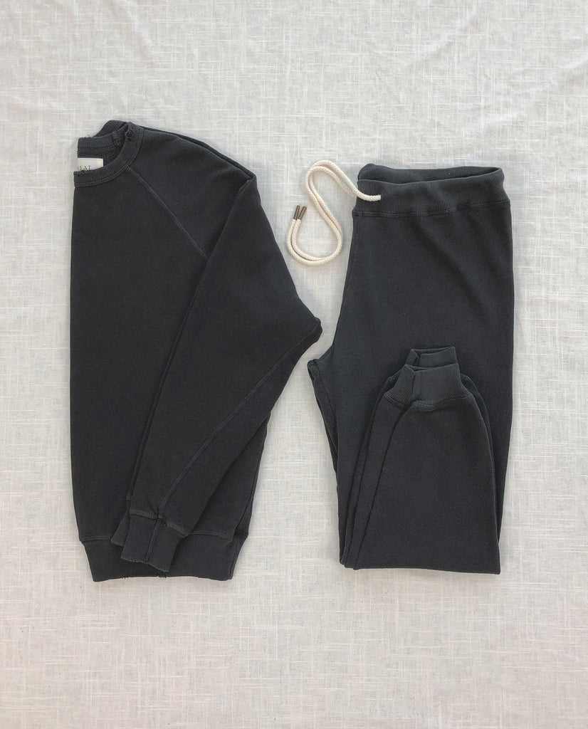 The College Sweatshirt and The Cropped Sweatpant Set. -- Washed Black