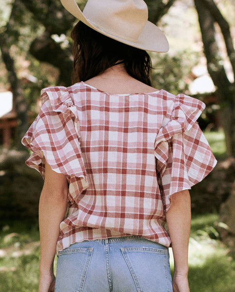 The Whisper Shirt. -- BRICK RED PLAID