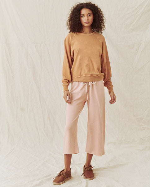 The Wide Leg Cropped Sweatpant. -- SHELL PINK