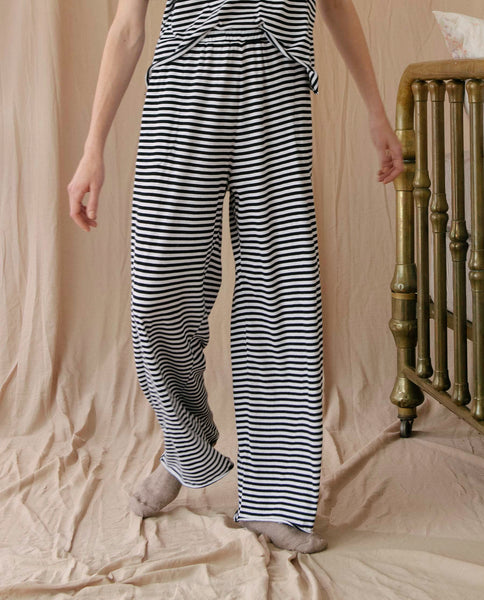 The Wide Leg Pant. -- BLACK AND WASHED WHITE STRIPE