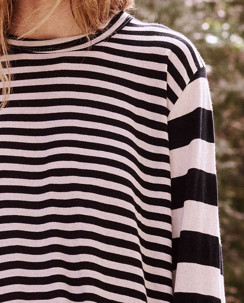 The Long Sleeve Knotted Tee Dress. -- Black Mixed Stripe