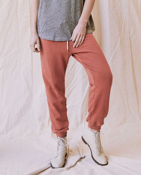 The Cropped Sweatpant. Solid -- Clay