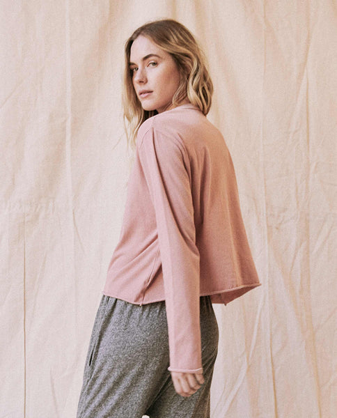 The Long Sleeve Crop Tee. -- Cloud Pink
