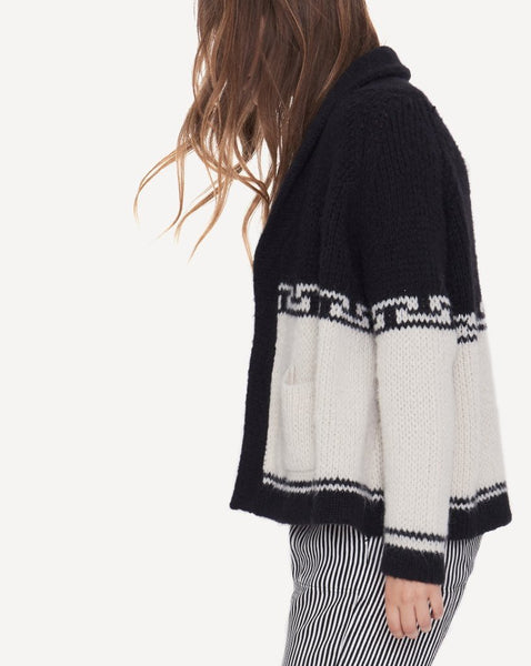 The Lodge Cardigan.- Cream And Black.- By Emily And Meritt-