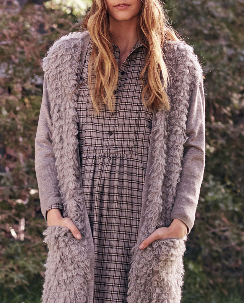 The Long Loop Cardigan. -- Heather Grey