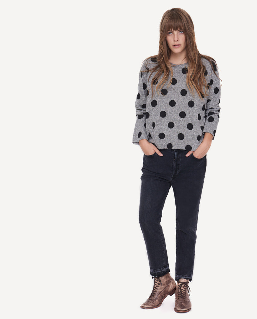 The Long Sleeve Crop Tee.- Polka Dots- The Great-By Emily And Meritt-