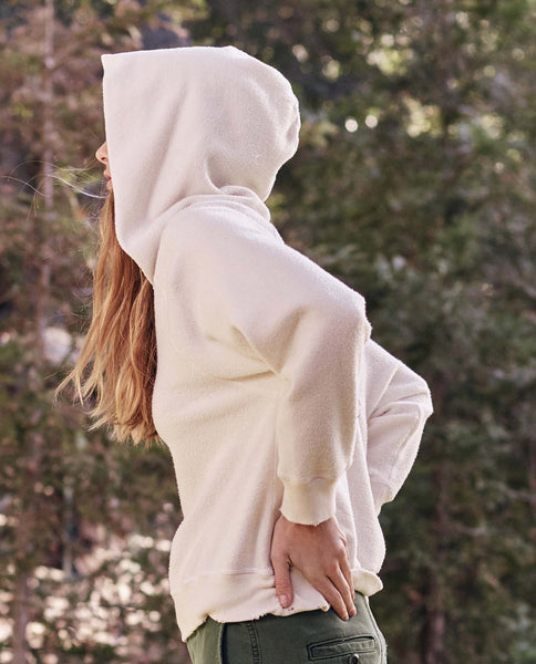 The Notch Hoodie. -- Washed White Sherpa