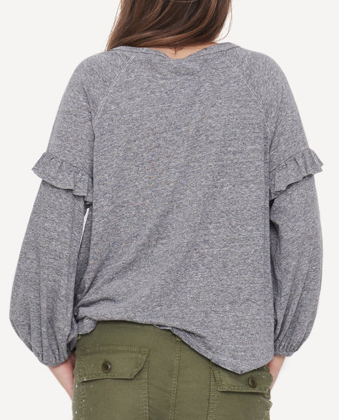 The Raglan Ruffle Tee.-Heather Grey- The Great-By Emily + Meritt-