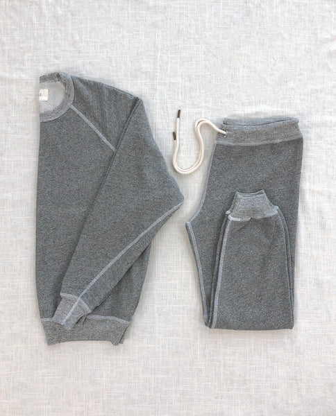 The College Sweatshirt and The Cropped Sweatpant Set. -- Varsity Grey