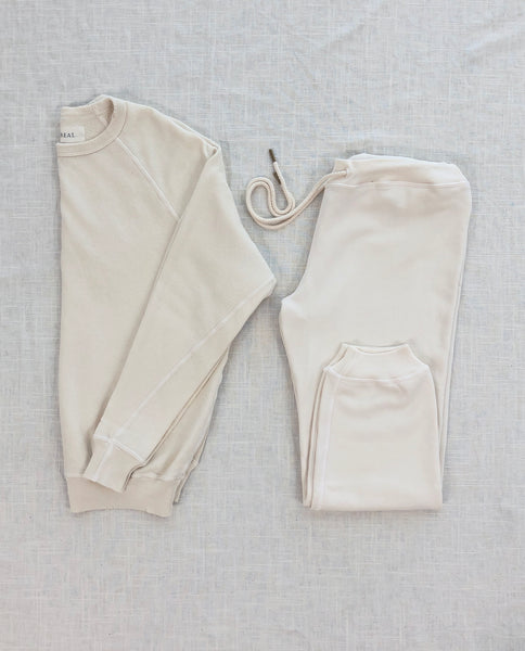The College Sweatshirt and The Cropped Sweatpant Set. -- Washed White