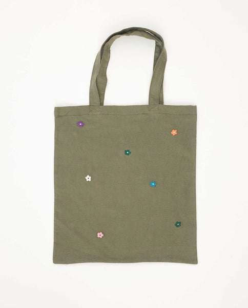 The Washed Embroidered Tote. -- Army Green With Bright Multi Color Flower