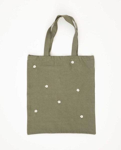 The Washed Embroidered Tote. -- Army Green With Cream Flowers