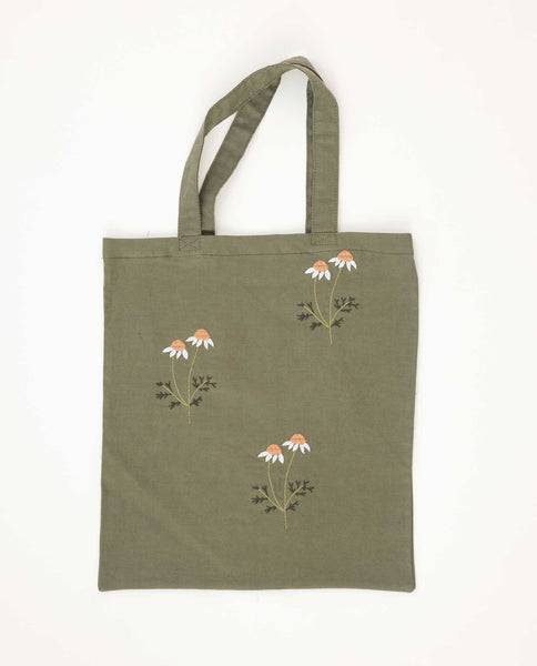 The Washed Embroidered Tote. -- Army Green With Daisy Floral