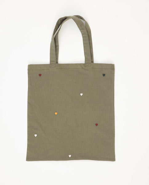 The Washed Embroidered Tote. -- Army Green With Multi Color Hearts