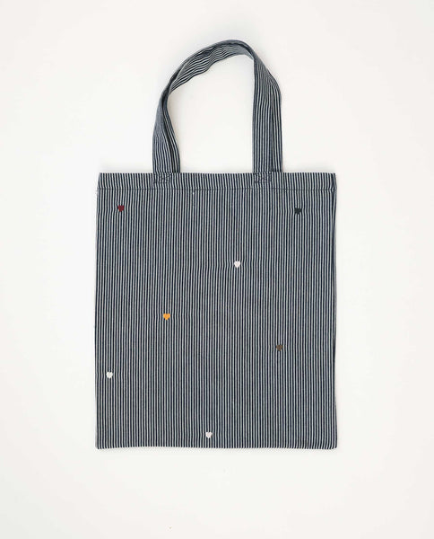 The Washed Embroidered Tote. -- Railroad Stripe With Multi Color Heart