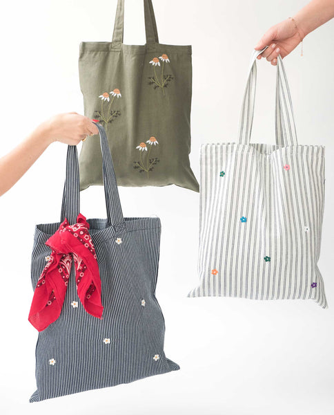 The Washed Embroidered Tote. -- Railroad Stripe With Cream Flowers