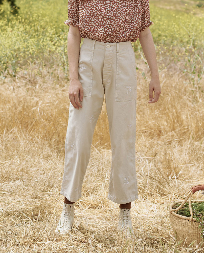 The Vintage Army Pant. -- WILD OAT WITH TONAL FIELD FLORAL EMBROIDERY