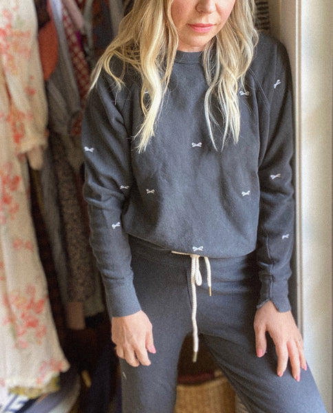 The College Sweatshirt and The Cropped Sweatpant Set. Embroidered -- Washed Black with Bow Embroidery