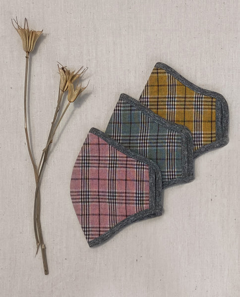 The Reversible Face Mask. -- Marigold Plaid with Chambray Reverse