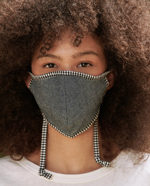 The Reversible Face Mask. -- Black White with Chambray Reverse