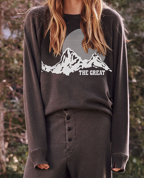 The College Sweatshirt. Graphic -- Washed Black With Mountain Graphic
