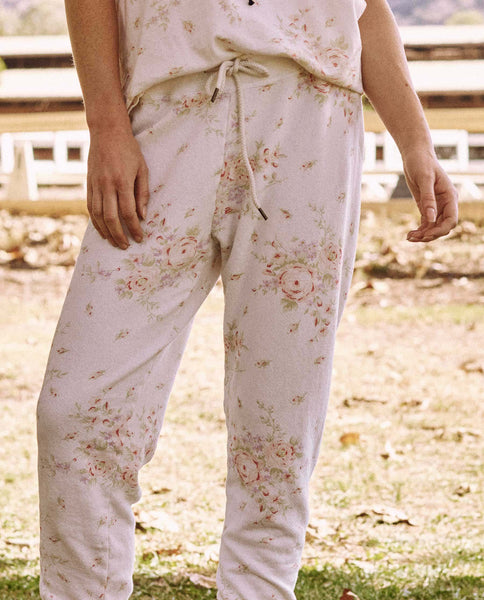 The Cropped Sweatpant. -- Garden Rose