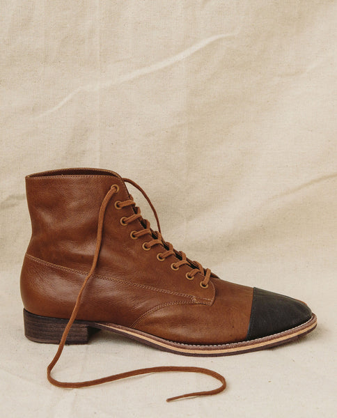 The Cap Toe Boxcar Boot. -- Hickory/Black