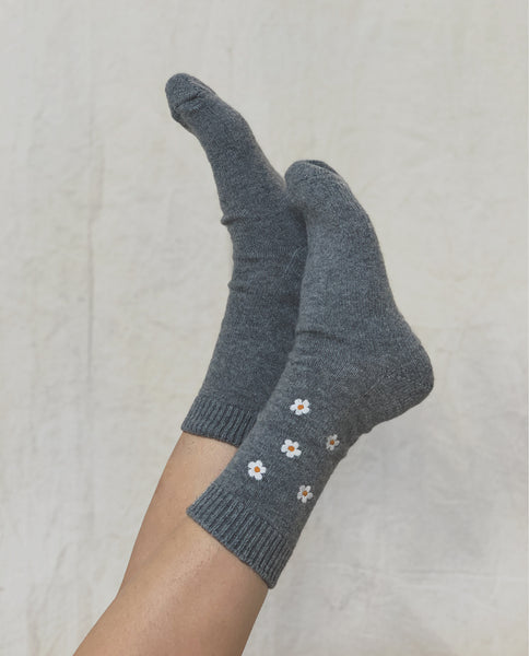 THE FLORAL EMBROIDERED SOCK. -- HEATHER GREY W. WHITE FLORAL EMBROIDERY