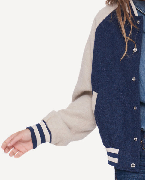 The Letterman Jacket. -- Navy And Cream