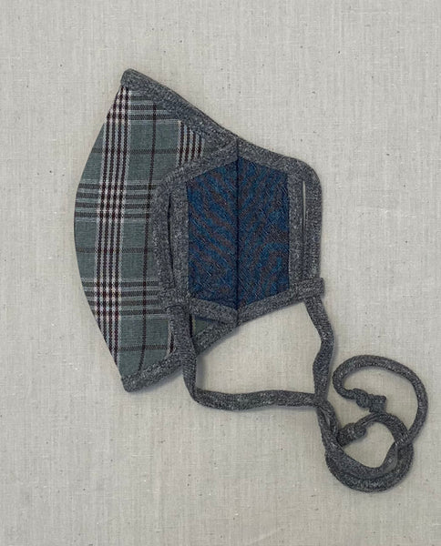 The Reversible Face Mask. -- Blue Grey Plaid with Chambray Reverse