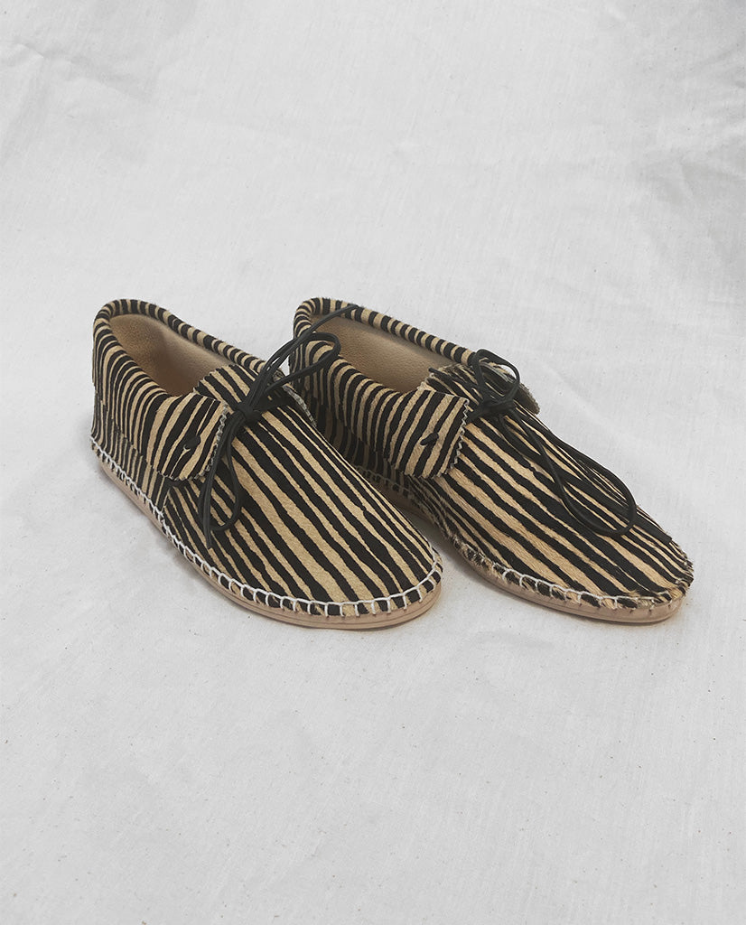 The Canyon Moccasin. -- Black and Cream Stripe