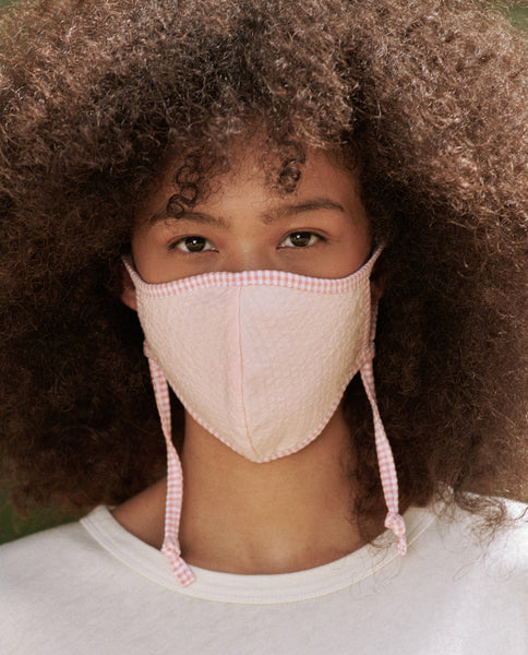 The Reversible Face Mask. -- Pink White with Chambray Reverse
