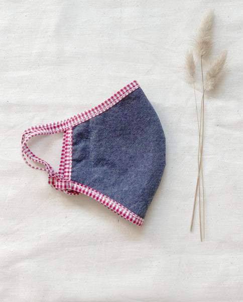The Reversible Face Mask. -- Red White with Chambray Reverse