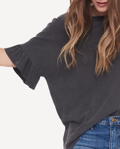 The Ruffle Sleeve Tee. -- Washed Black