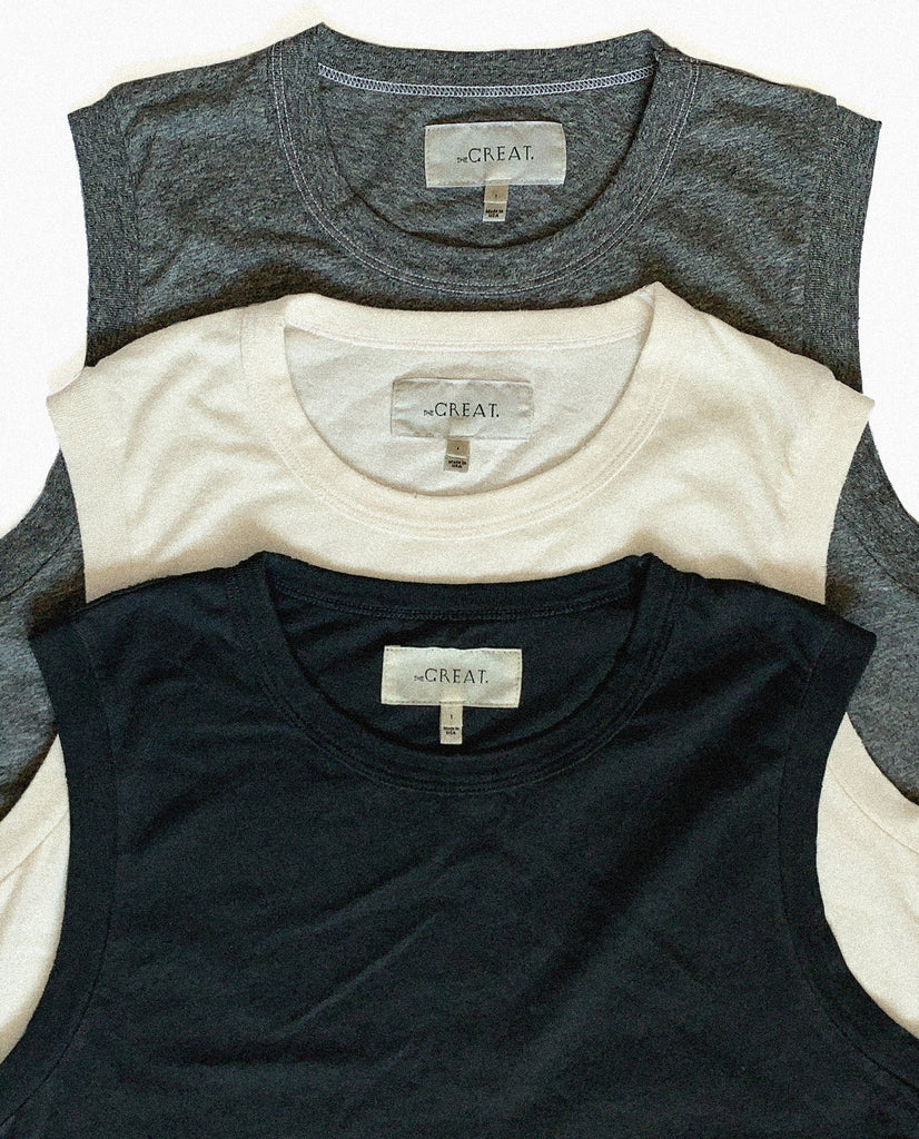 The Sleeveless Crew Set.