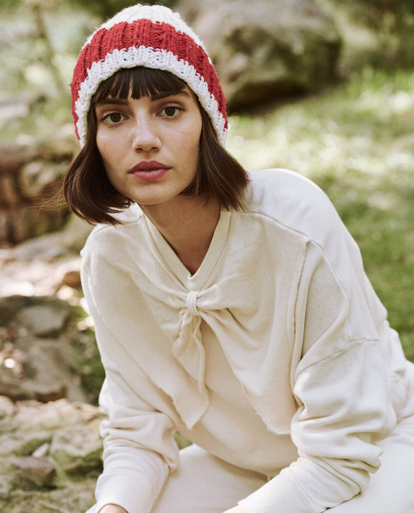 The Bow Sweatshirt. -- Washed White