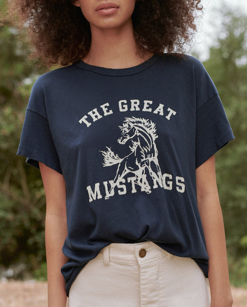 The Boxy Crew. Graphic -- TRUE NAVY WITH MUSTANG GRAPHIC