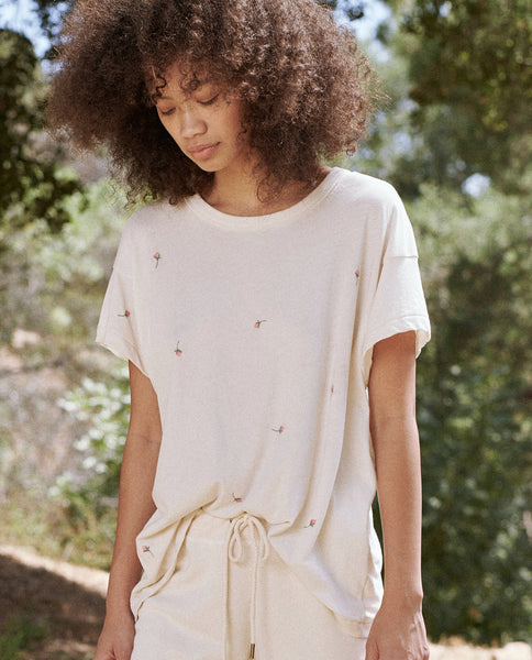The Boxy Crew. Embroidered -- WASHED WHITE WITH SCATTERED ROSE EMBROIDERY
