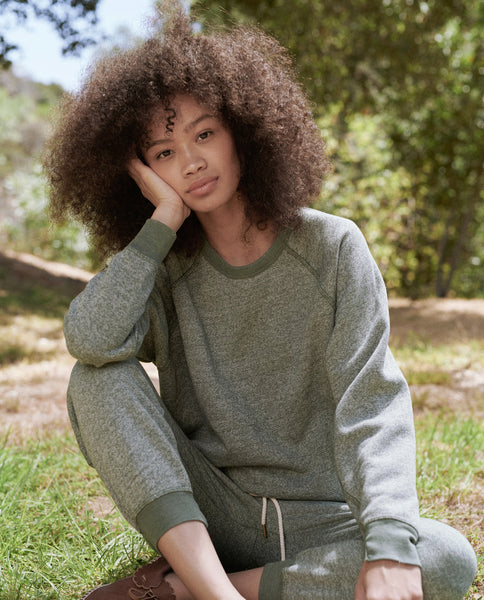 The College Sweatshirt and The Cropped Sweatpant Set. -- Basil Heather