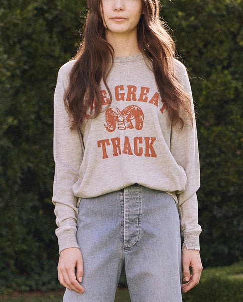 The College Sweatshirt. Graphic -- Light Heather Grey With Ram Graphic