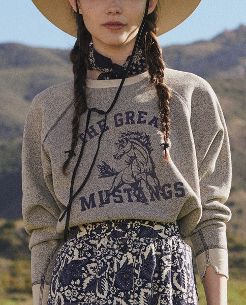 The College Sweatshirt. Graphic -- NAVY SPECKLE WITH MUSTANG GRAPHIC