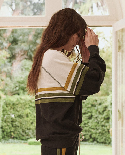 The College Sweatshirt. Novelty -- ALMOST BLACK WITH CITRON STRIPE APPLIQUE
