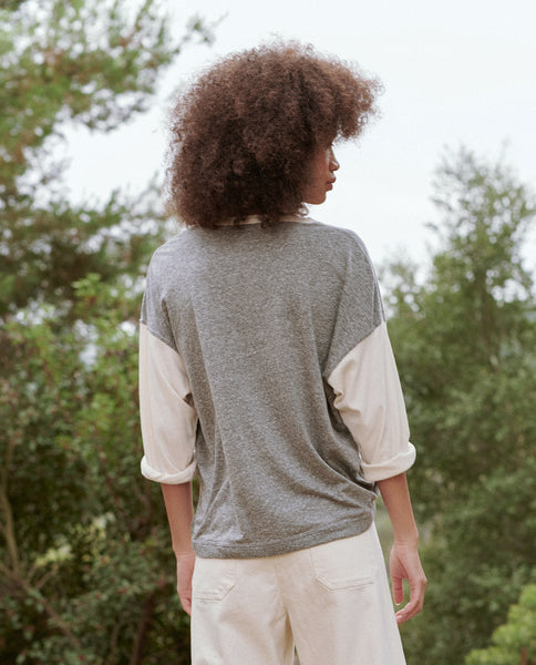 The Color Blocked Shrunken Henley. -- HEATHER GREY WITH WASHED WHITE