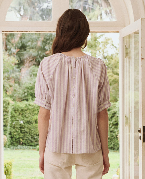 The Courtyard Top. -- LAVENDER STRIPE