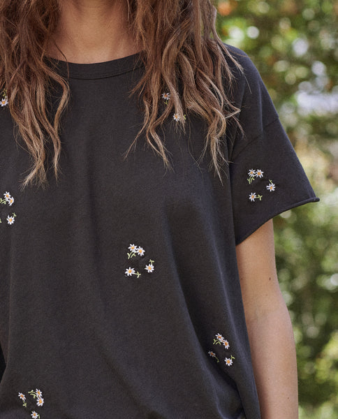 The Crop Tee. -- Almost Black With Daisy Bouquet Embroidery