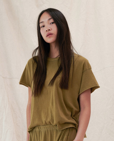 The Crop Tee. Solid -- OLIVE LEAF